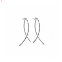 China Fashion 925 Sterling Silver Pave Diamond Hoop Earrings Jewelry