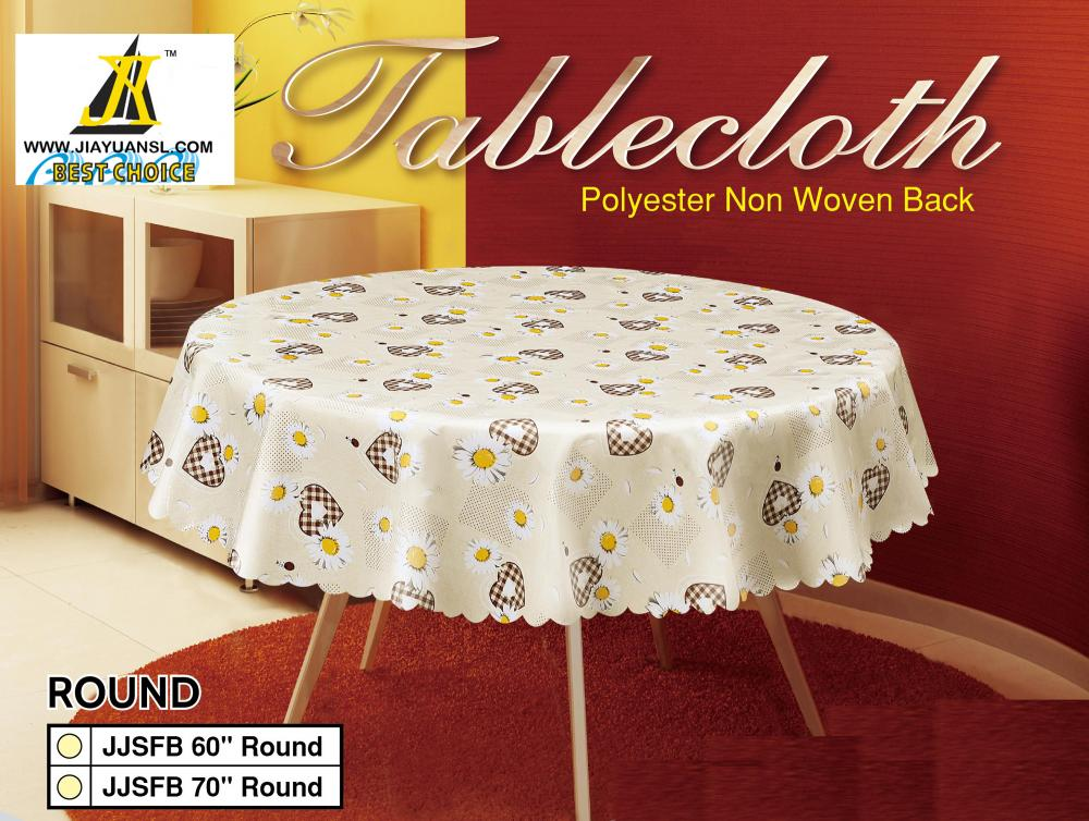 Pvc Readymade Printed Tablecloth Scallop Edge
