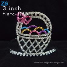 Corazones coloreados encantadores de la tiara de los cabritos del cristal de los huevos de Pascua del rhinestone,
