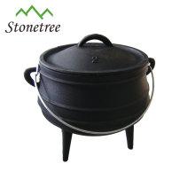 Afrique du Sud Potjie Pot à 3 jambes, marmite en fonte, chaudron en fonte pour le camping et le plein air