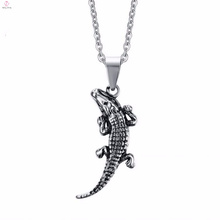 Cool Stainless Steel Crocodile Animal Pendant Necklace