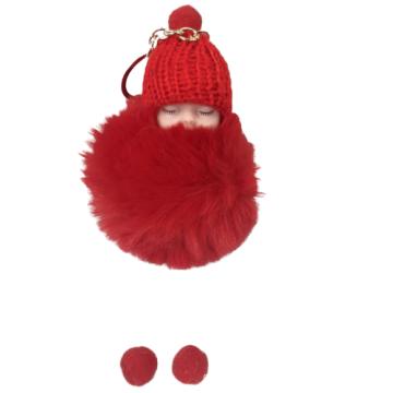 Cute Trinket Car Bag Fur Pom Keyring Fluffy Doll Sleeping Baby Key Chain For Gift