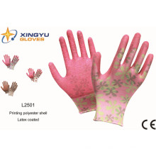 Impresión Polyestershell Latex recubierto arrugado terminar guante de trabajo de seguridad (L2501)