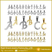 Silber vergoldet Anhänger Charms Namen Buchstaben AZ Edelstahl Alphabet für Halskette Anhänger