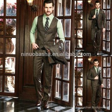 Professional Design Men Business Suits 2014 New Brown Check Men's Wedding Suit Top Quality NB0566
