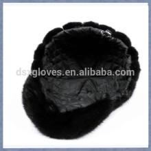 New Lady Mink Fur Peaked Caps