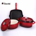 Ustensiles de cuisine pour émail Ensemble de casserole à 3 casseroles