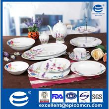 color box packing pink and purple color flower decorated 45pcs excellent porcelain dinner set