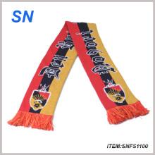 2015factory Personalizado 100% acrílico de punto de fútbol bufanda bufanda bufanda de fútbol