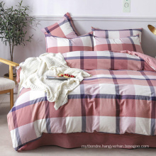 Homestay Cotton Fabric Bedding Cheap Price Modern Design Plaid Multi Color