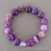 Rond Bracelet Agate pourpre, étirer Bracelet (BP134)