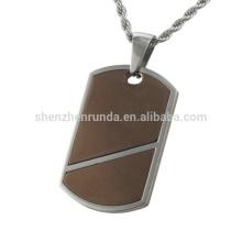 2016 Hot sale simple design coffee color & steel fashion custom stainless steel pendant