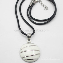 Semicircle Metal Enamel Pendant Necklace With Pu Leather Cord