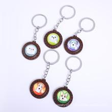 pendentifs pour animaux de compagnie porte-clés créatifs de marque ronde en bois