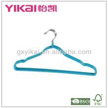 Cintre en métal revêtu de PVC avec encoches et barre