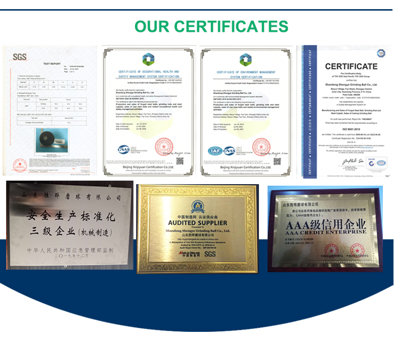 Our certificate of casting steel cylpebs