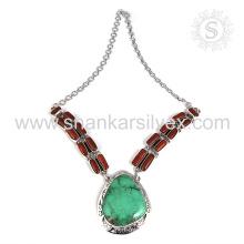 Wunderschöne Koralle & Türkis Edelstein Silber Halskette Großhandel 925 Sterling Silber Schmuck indischen Schmuck