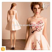 Sexy Pink Short Mini Dress Floral Party Evening Clubwear Vestuário Vestido Nacional com Flor de ameixa