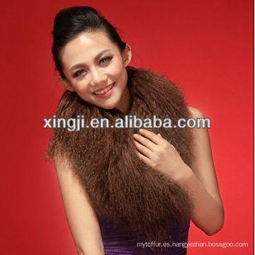 teñido cuello de piel de oveja mongol de color marrón