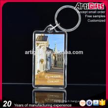 Cadeau promotionnel vide rectangulaire rectangulaire en plastique acrylique porte-clés