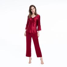 Шелковая пижама из двух частей пижамы 3/4 с длинным рукавом
