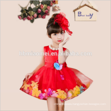 Fahsion Elegant Hot Sale 2017 Girls Clothes Artificial Flower lace Puffy Party Dress for Girls