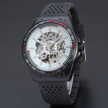 winner dotted silicone band mechanical watch for sport men