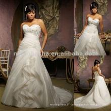 NY-2415 Perlenstickerei auf Organza-Hochzeitskleid