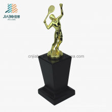 Troféu de metal promocional de liga de alta qualidade com base de madeira