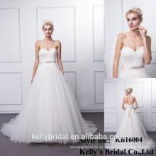 KB16004 Fashion New griechischen Stil Brautkleider mit Perlen Schärpe und lange Zug Vintage Backless Champagner Brautkleider