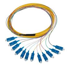 0,9 mm 2,0 mm 3,0 mm lc pc 12 courants de fibres optiques, om3 sc apc fibre optique pigtail