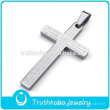 2016 nouveau design en ligne de haute qualité en acier inoxydable 316L argent verset biblique croix pendentif avec la prière du Seigneur