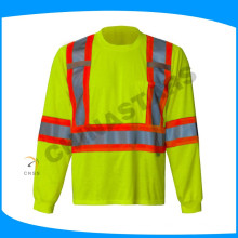 Camisas reflexivas de manga larga ANSI 107 clase 2 con tela de malla de ojo de pájaro 140gsm