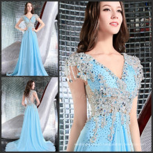 Formal Evening Gowns Dresses Sexy V-neck Pleated Applique Beaded Sequin Luxury Evening Party Dresses 2016 Custom Made ML156