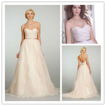 Fashion A-line Strapless Organza Beaded Champagne Wedding Dress(WDJL-1021)