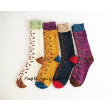 Китайский стиль цветок полная хорошего качества леди хлопчатобумажные носки