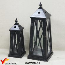 2 Set Antique Cast Wood Candle Lantern