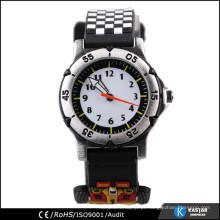 Cool Balck vogue novela relógio de corrida design, relógio de silicone para crianças