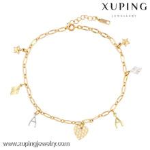 73846-xuping moda tornozeleiras de ouro preços, pé tornozeleiras jóias, tornozeleiras design de moda em ouro amarelo