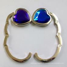 Crochet en sac métallique pliable en forme de coeur avec diamant en cristal (F2006B)