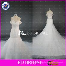 ED Bridal Elegant Off Shoulder Sexy Sheer Back Beaded Tulle Mermaid Vestido de casamento com trem longo