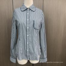 Weibliches Garn gefärbtes Spandex-Langarmhemd