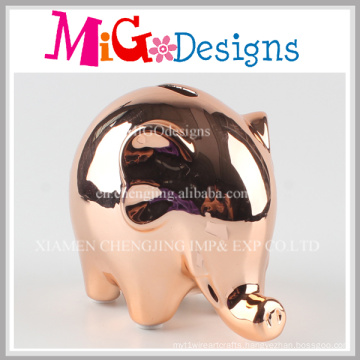 Electroplate Ceramic Animal Shaped Coin Box