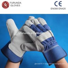 10,5 pouces gris fourreau fendu cuir palmier gants de travail manchette de sécurité