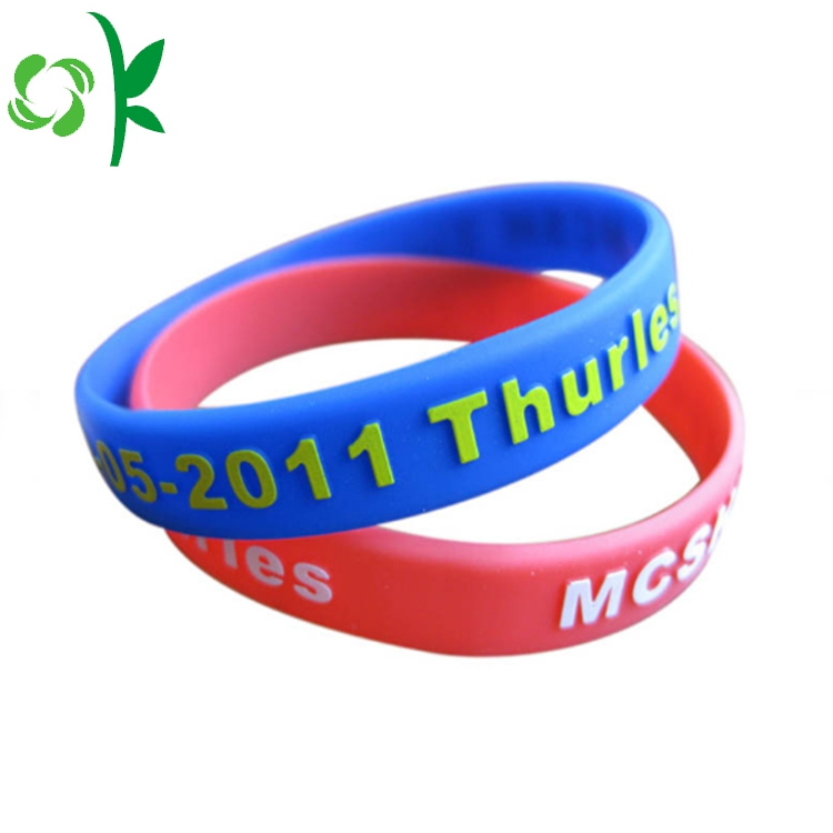 Blue Embossed Power Silicone Wristbands