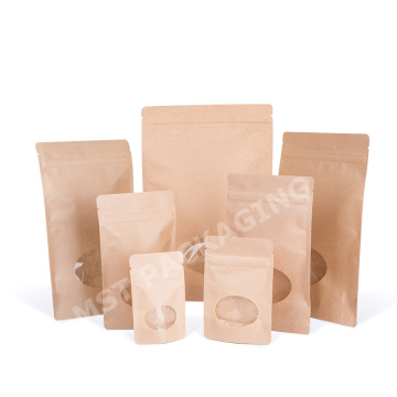 Makanan Grade Kraft Paper Biodegradable Bag dengan Window