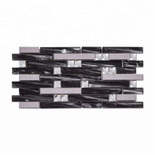 High-end diamond mirror glass strip mosaic tiles for kitchen backsplash