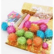 Großhandelsparty dekorative Glitter Pom Pom Kinder Kinder Leim DIY Kit