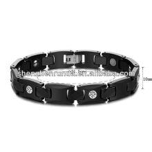 Cerâmica preta com bracelete magnético da saúde para a jóia do aço inoxidável dos homens