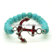 Bracelet en pierres précieuses élastique en perles rondes 8MM turquoise avec pièce d'alliage d'ancrage Diamante
